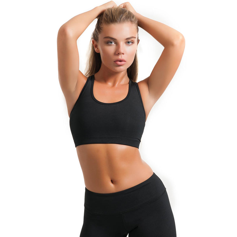Classic Racerback Compression Sports Bra Black