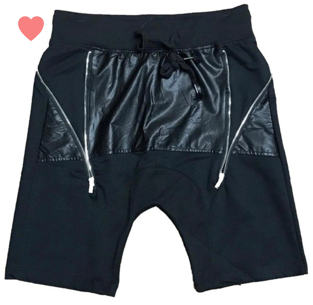 Mens Black ZIP Lock Shorts