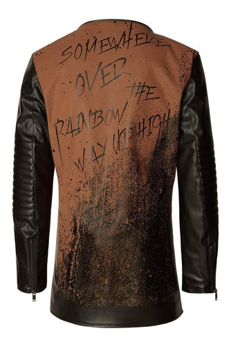 Men's graffiti leather jacket