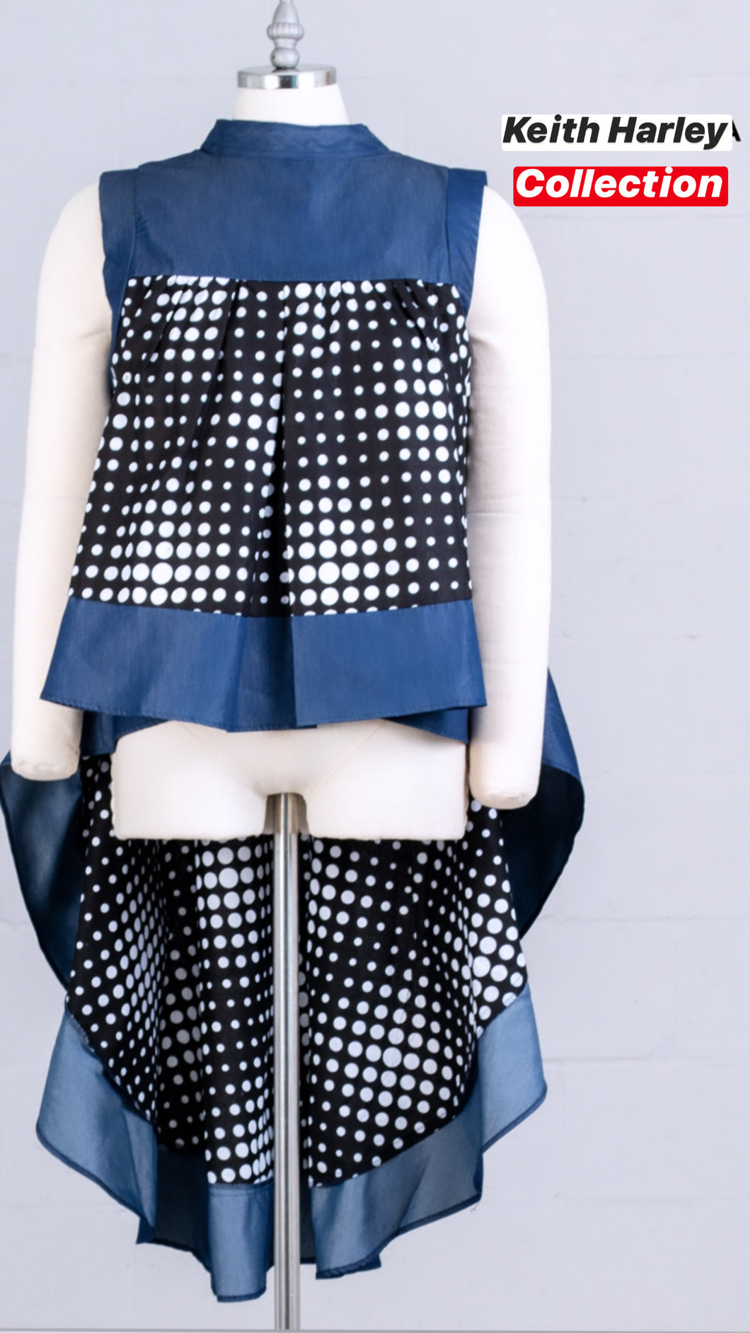 High Low Drip Polkadot Top