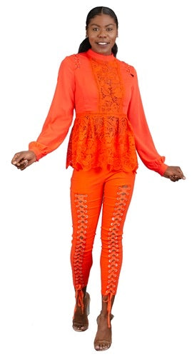 Crochet long sleeve orange top