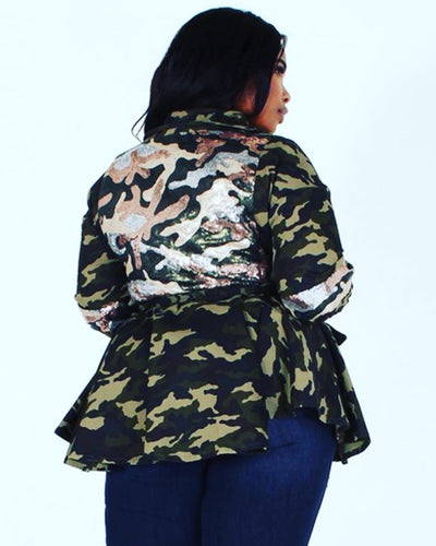 Women's Camo Peplum Sequin Jacket