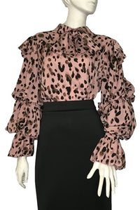 The Leopard puff blouse