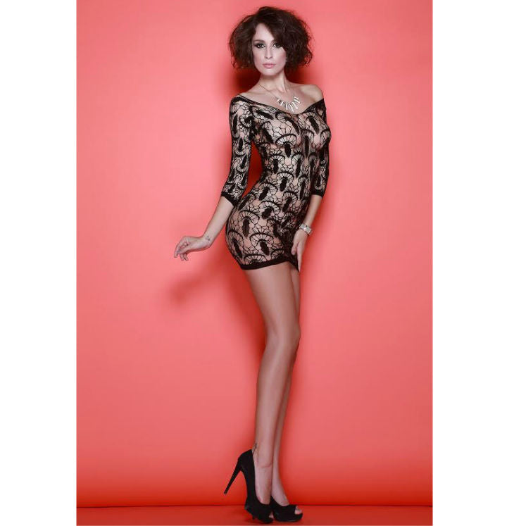 QUEEN LINGERIE - NET SEXY DRESS HALF SLEEVE