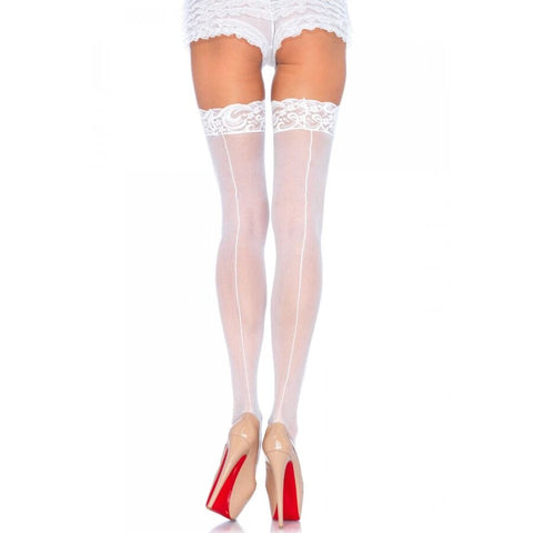 LEG AVENUE WHITE HIGH STOCKINGS