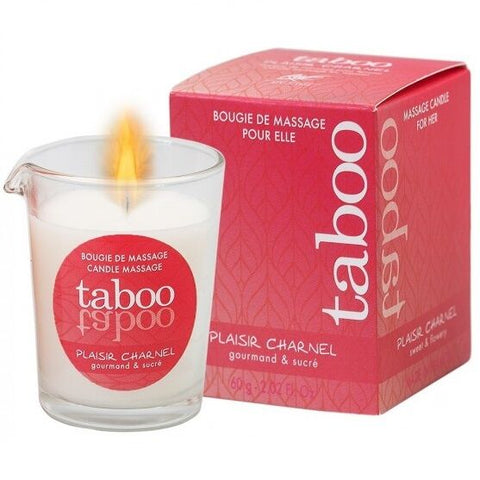TABOO CANDLE MASSAGE WOMAN PLAISIR CHARNEL SMELL CACACO FLOWER