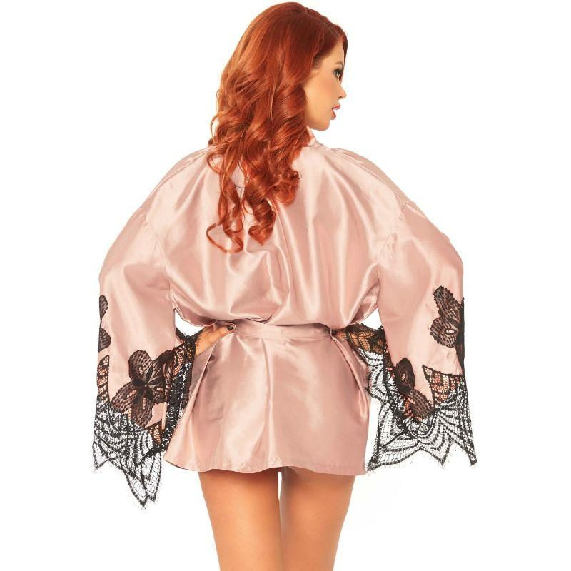 LEG AVENUE|LEG AVENUE BABYDOLLS - LEG AVENUE SATIN ROBE WITH FLARED SLEEVES