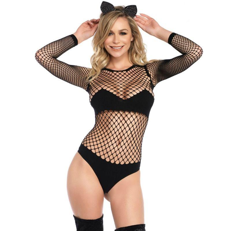 LEG AVENUE|LEG AVENUE BODYSTOCKINGS - LEG AVENUE NAUGHTY KITTY BODYSUIT