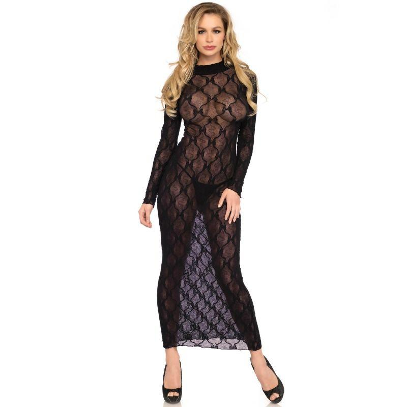 LEG AVENUE|LEG AVENUE DRESSES/VESTIDOS - LEG AVENUE LONG SLEEVE LONG DRESS ONE SIZE