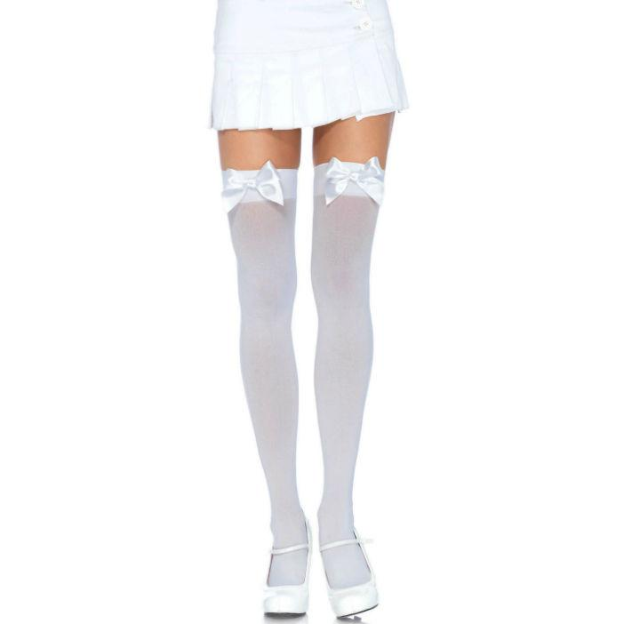 LEG AVENUE|LEG AVENUE HOSIERY - LEG AVENUE NYLON THIGH HIGHS WITH BOW