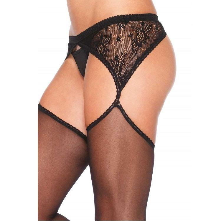 LEG AVENUE|LEG AVENUE HOSIERY - LEG AVENUE SHEER STOCKINGS WITH ATTACHED LACE SIDE GARTELBELT