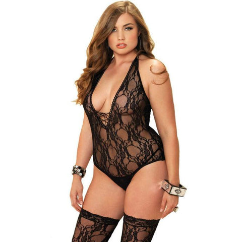 Lingerie, Large Sizes - 2PC FLORAL TEDDY BODYSTOCKING