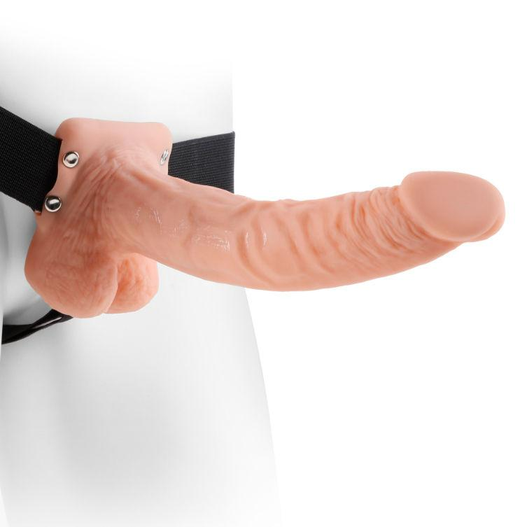 "<sale Value=""0"" /> - FETISH FANTASY SERIES 9"" HOLLOW STRAP-ON WITH BALLS 22.9CM  FLESH"