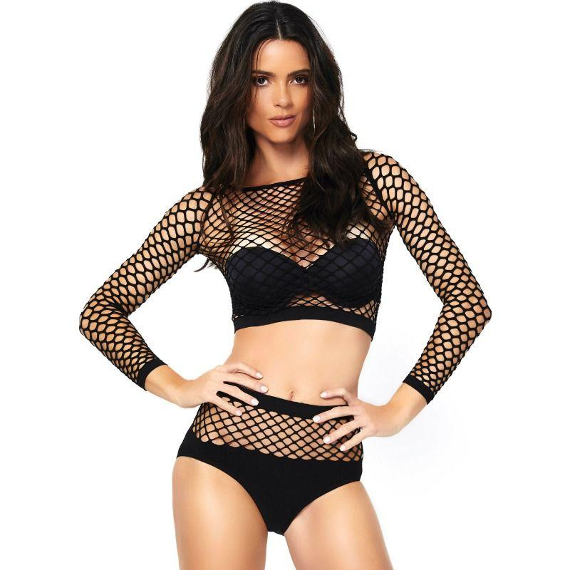 "<sale Value=""0"" /> - LEG AVENUE 2 PIECES SET NET LONG SLEEVED TOP AND HIGH WAISTED ONE SIZE"