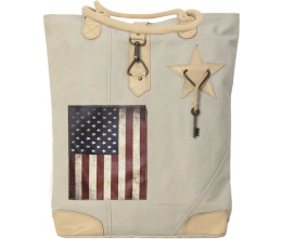 Vintage Addiction US Flag Recycled Military Tent Canvas Tote