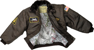 Kids Brown Leather Flight Jacket