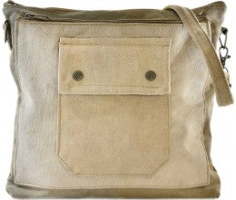 Vintage Addiction Plain Recycled Military Tent Crossbody Bag