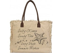 "Load image into Gallery viewer, Vintage Addiction ""Salty Kisses"" Recycled Military Tent Market Tote"