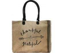 "Load image into Gallery viewer, Vintage Addiction ""Thankful & Grateful""  Recycled Military Tent Market Tote"