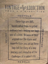 "Load image into Gallery viewer, Vintage Addiction ""Live with Character"" Recycled Military Tent Market Tote"