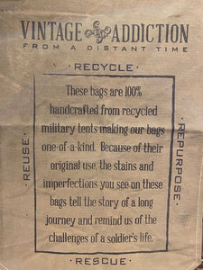 "Vintage Addiction ""Live with Character"" Recycled Military Tent Market Tote"