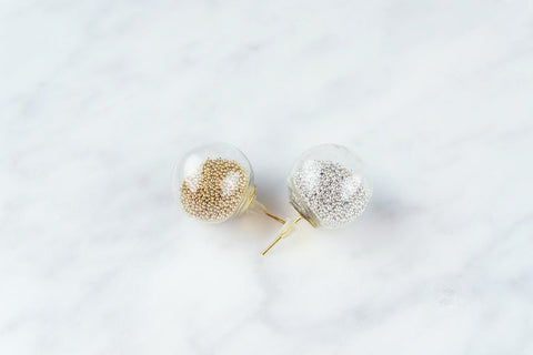 Glass Bead Earrings - Silver and Gold