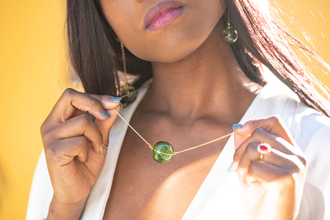 Glass Necklace - Gold/Green