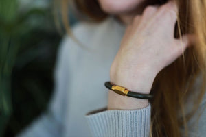 Leather Bracelet - Gold/Green