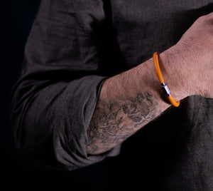 Leather Bracelet - Silver/Orange