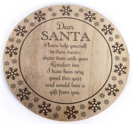 Wooden Santa Treat Plate