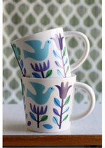 Folk Doves Porcelain Mugs - Pair