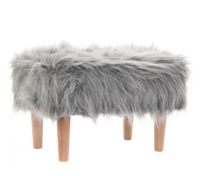 Faux Fur Fluffy Grey Foot Stool