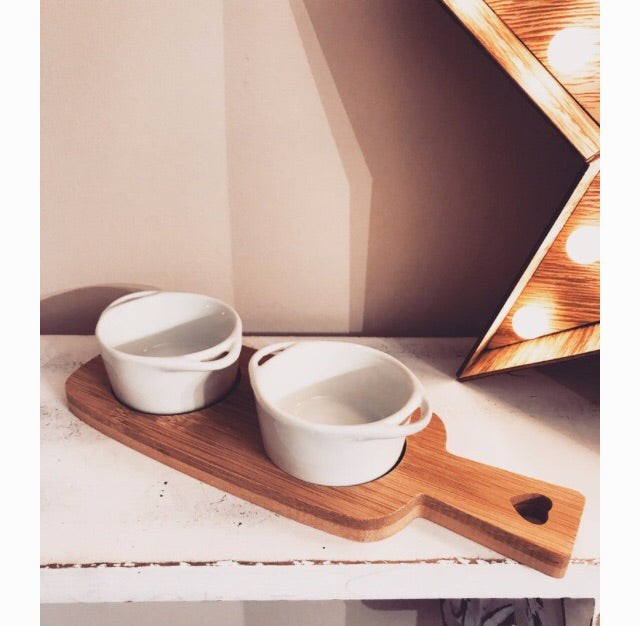Double Dipping Dishes on Bamboo Board