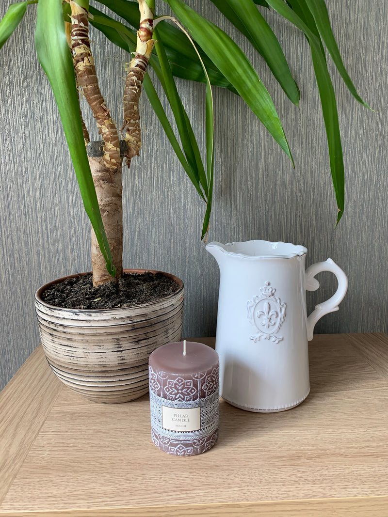 Aurelia Embossed Pillar Candle