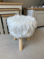 Faux Fur Fluffy White Stool