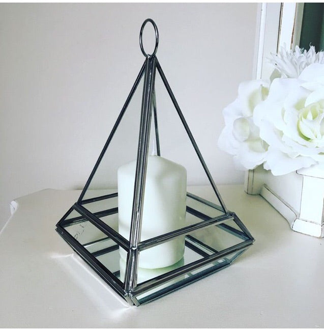 Silver Pyramid Tealight Holder / Terrarium