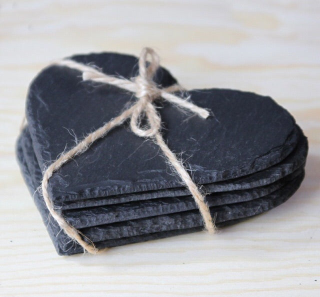 Heart Slate Coasters (Pack of 4)