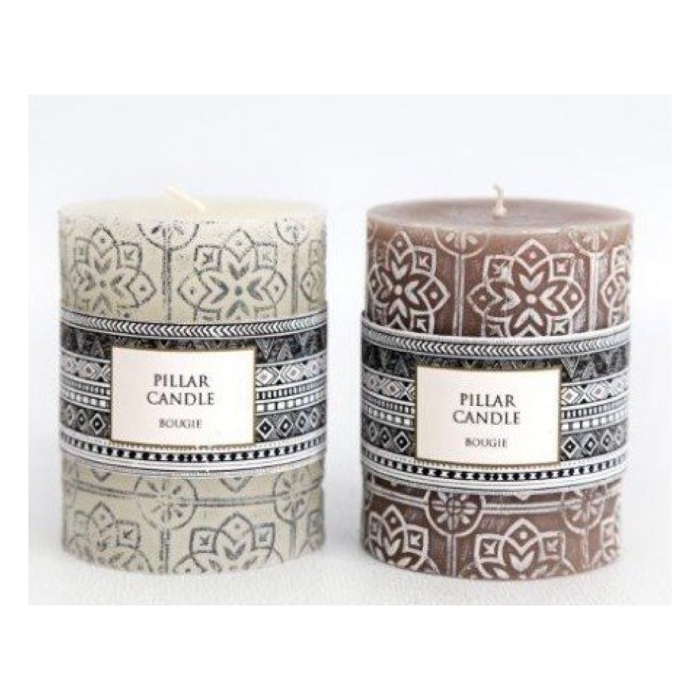 Mink/Cream Embossed Pillar Candle