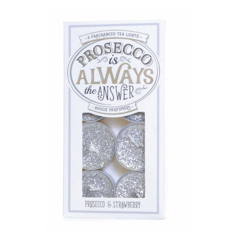 Prosecco Silver Glitter Tealight Candles