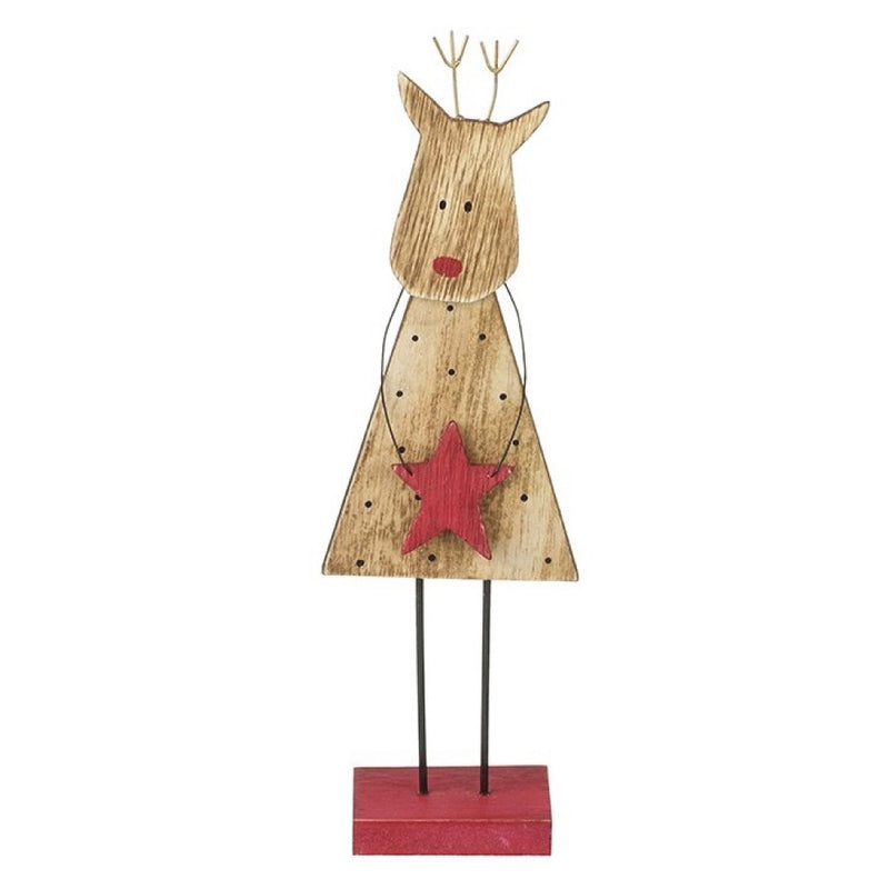 Wooden Standing Deer Christmas Decoration