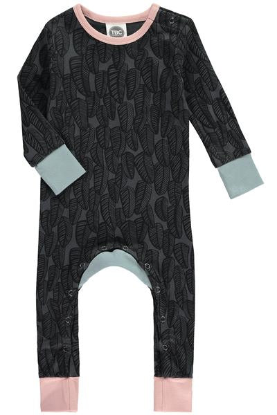 Baby Sleepsuit Feathers Midnight