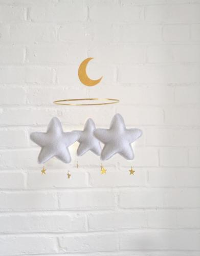 Star and moon mobile - light grey - THE BUTTER FLYING