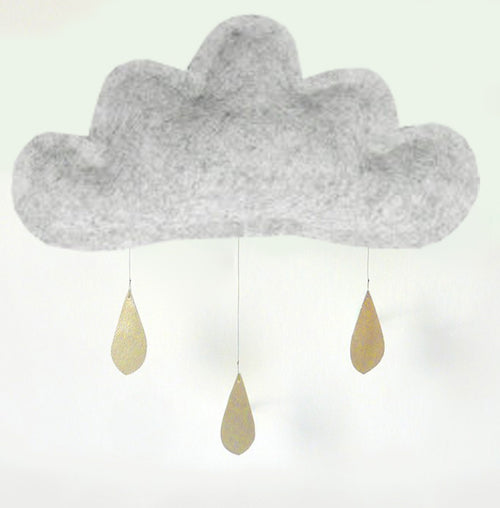 Cloud wall hanging - Smocked grey melange