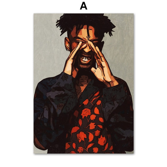 2Pac J Cole Mac Miller 21 Savage Rapper Wall Art Canvas Painting Nordic Posters And Prints Wall Pictures For Living Room Decor