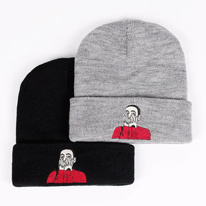 New US Rapper Malcolm Beanie Mac Miller Embroidery Knit Cap McCormick Knitted Hat Skullies Winter Warm Unisex Ski Gorros Cap