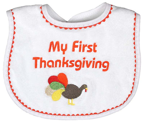 Raindrops - 1st Thanksgiving Boy Bib