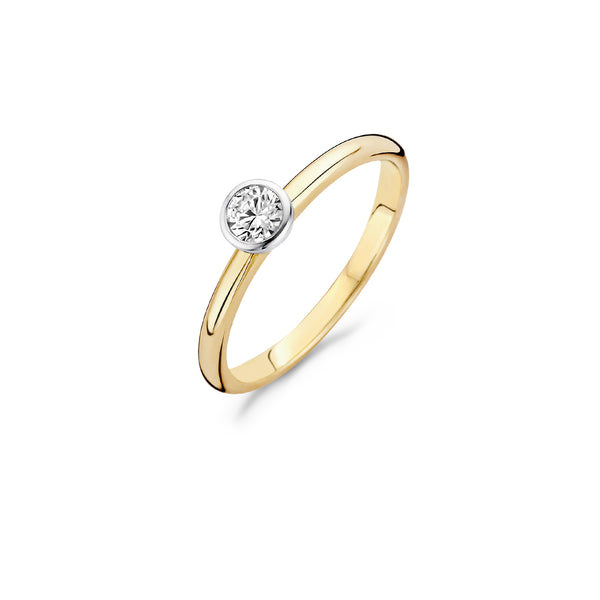 Ring 1124BZI - Gold and White Gold (14Crt.) with Zirconia
