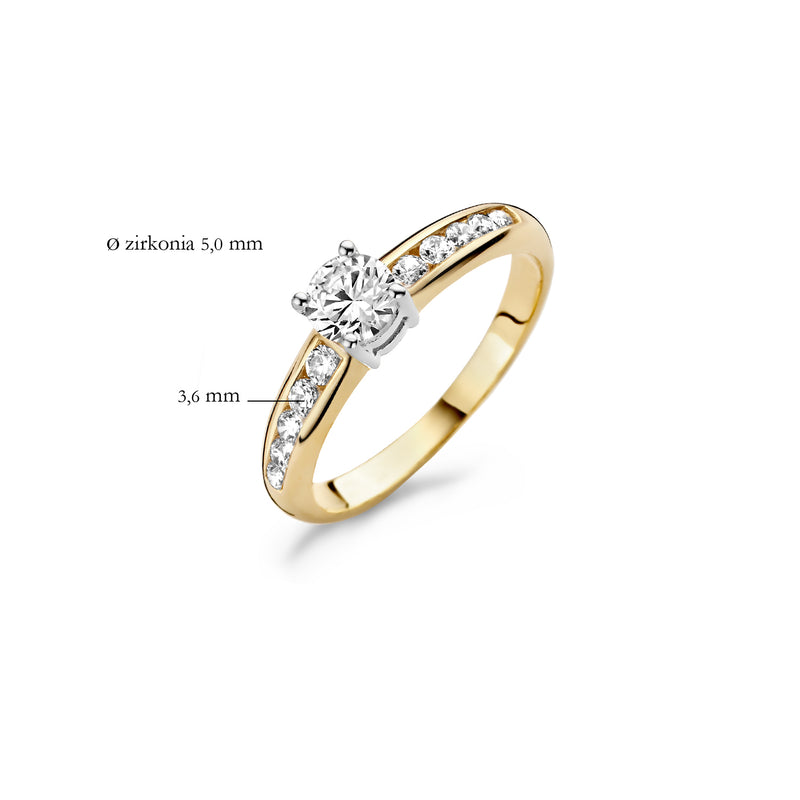 Ring 1154BZI -  Gold and White Gold (14Crt.) with Zirconia