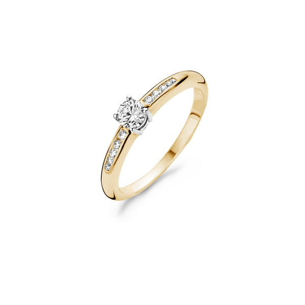 Ring 1155BZI -  Gold and White Gold (14Crt.) with Zirconia