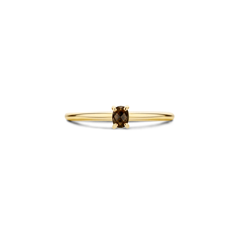 Ring 1204YSQ - Geelgoud met Smokey Quartz (14Krt.)